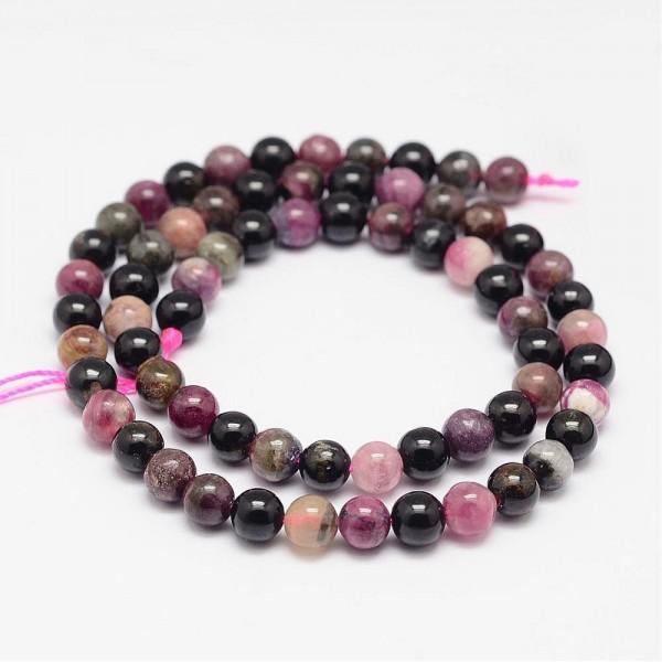 Natürlicher Turmalin Perlenstrang rund glatt 6 mm (ca. 61 Perlen / ca. 39,5 cm Länge)