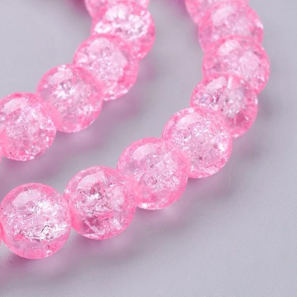 6 Crackle Glasperlen rosa