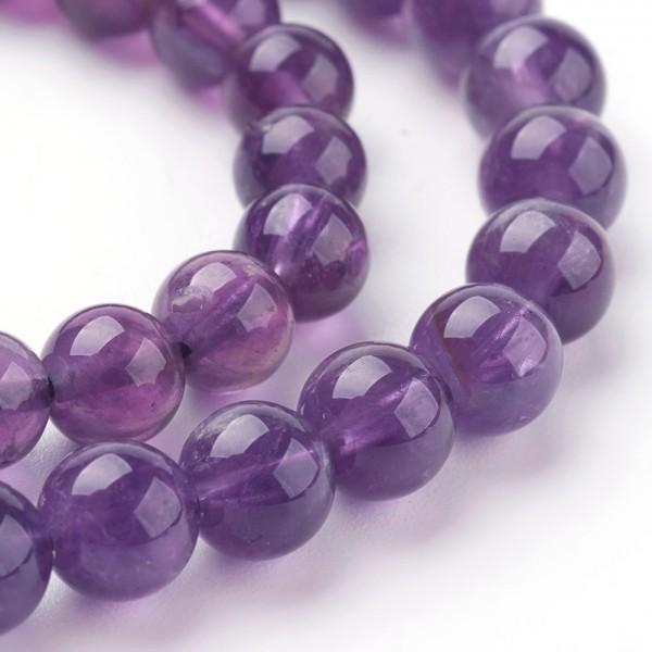 Natürlicher kurzer Amethyst Perlenstrang 6 mm (ca. 32 Perlen / ca. 20 cm Länge)