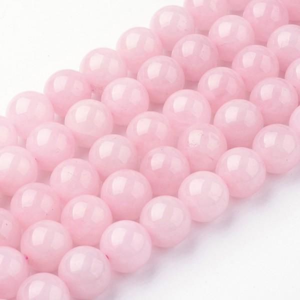 Natürlicher Rosenquarz Perlenstrang rund glatt 8 - 8,5 mm (ca. 45 Perlen / ca. 38 cm Länge)