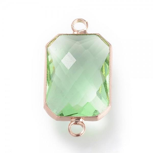 Verbinder Rechteck goldfarben mit grün facettiertem Glasstein