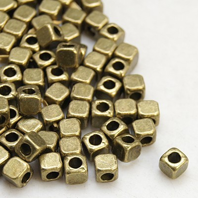 25 Metallperlen Würfel Spacer antik bronzefarben 4 x 4 x 4 mm