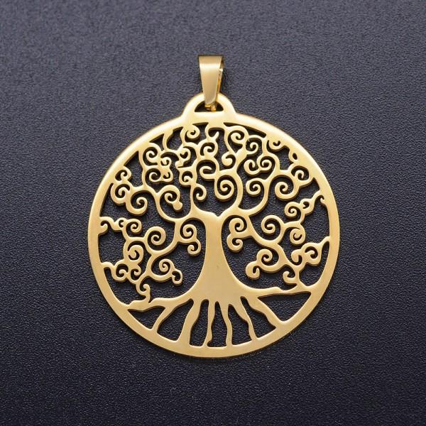Edelstahl Anhänger Baum des Lebens rund goldfarben 32 x 29,5 x 1 mm