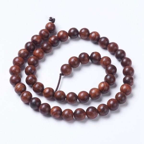 Naturholzperlen Strang rund braun 8 mm (ca. 49 Perlen / ca. 39,5 cm Länge)