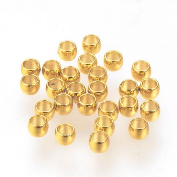 20 Edelstahl Quetschperlen goldfarben 1,5 x 0,8 mm