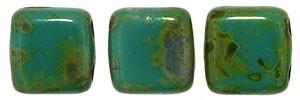 30 hochwertige tschechische Glasperlen 6 x 6 mm doppelt gebohrt Persian Turquoise - Picasso