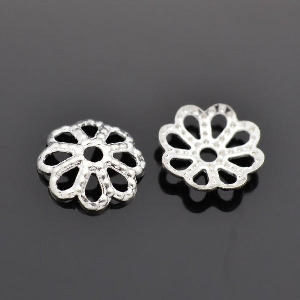 20 filigrane Perlkappen Blumenblatt silberfarben 8 x 3 mm