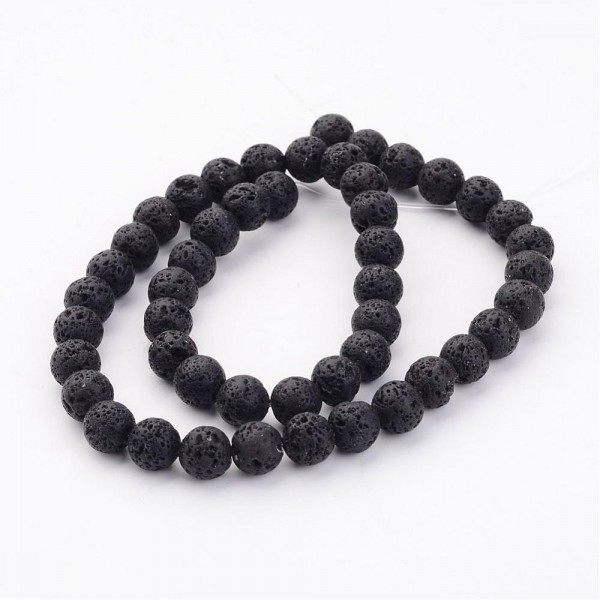 Natürlicher schwarzer Lavaperlenstrang rund 8 - 8,5 mm (ca. 47 Perlen / ca. 38 cm Länge)