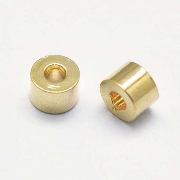 10 Metallperlen Röhrchen 18K vergoldet 2,5 x 1,8 mm