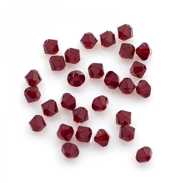 20 Österreichische Kristall Perlen rot Doppelkegel 4 mm