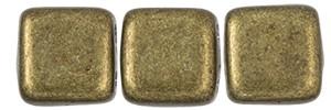 30 hochwertige tschechische Glasperlen 6 x 6 mm doppelt gebohrt dunkelgolden metallic