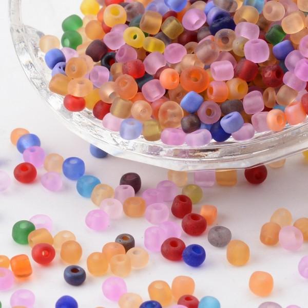 50 Gramm Rocailles gefrostet rund gemischte Farben