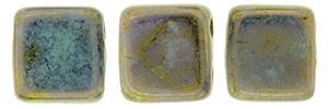 30 hochwertige tschechische Glasperlen 6 x 6 mm doppelt gebohrt Opaque Pale Jade - Bronze Picasso