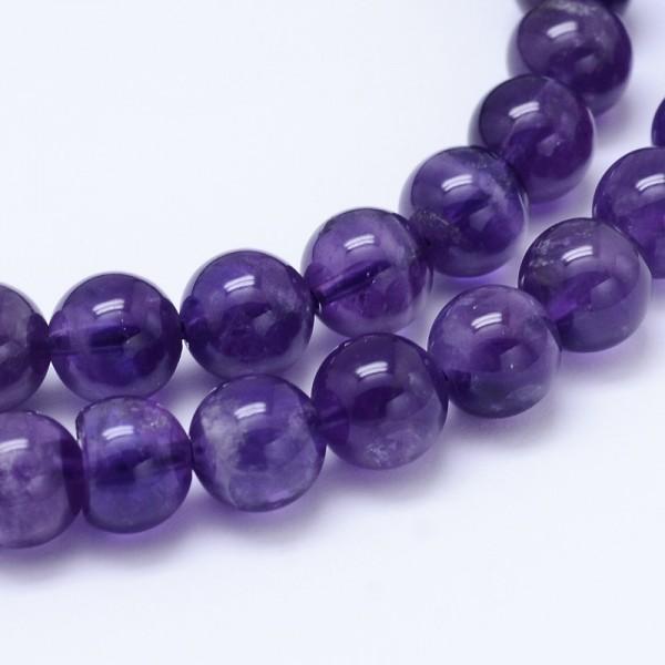 10 natürliche Amethyst Perlen rund glatt glänzend 6 mm