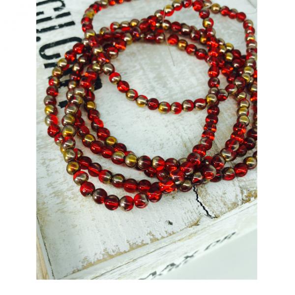 1 Strang tschechische Glasperlen rot goldfarben glänzend (ca. 50 Perlen / ca. 26 cm Länge)
