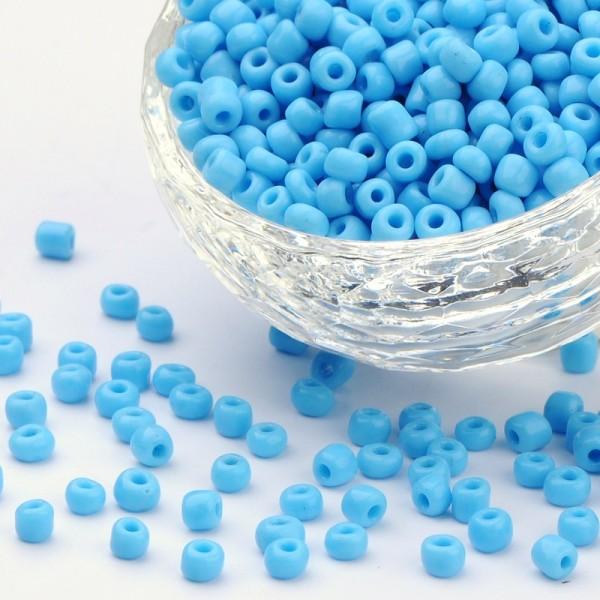 50 Gramm runde Rocailles himmelblau opak