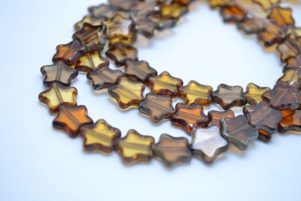 5 hochwertige tschechische Glasperlen Stern braun 5 mm