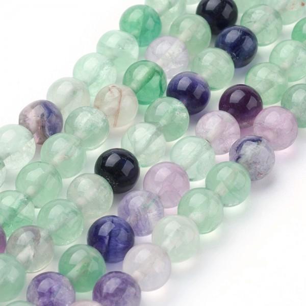 Natürlicher Fluorit Perlenstrang rund glatt 4 mm (ca. 92 Perlen / ca. 40 cm Länge)