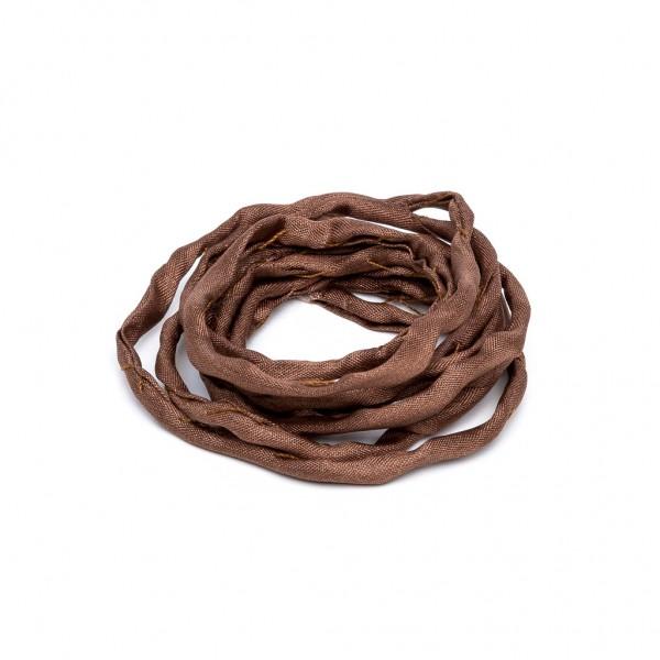 Habotai Seidenband handgefärbt und handgenäht braun