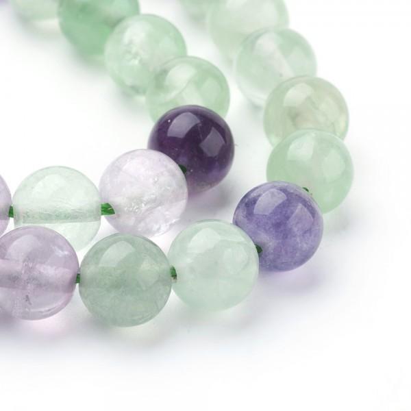 Natürliche Fluorit Perlen rund glatt glänzend 4 mm (ca. 92 Perlen / ca. 39 cm Länge)