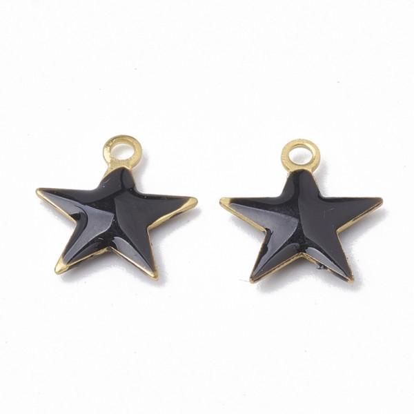 2 goldfarbene Messing Charm Anhänger Stern schwarz emailliert 10,5 x 10 x 1,5 mm