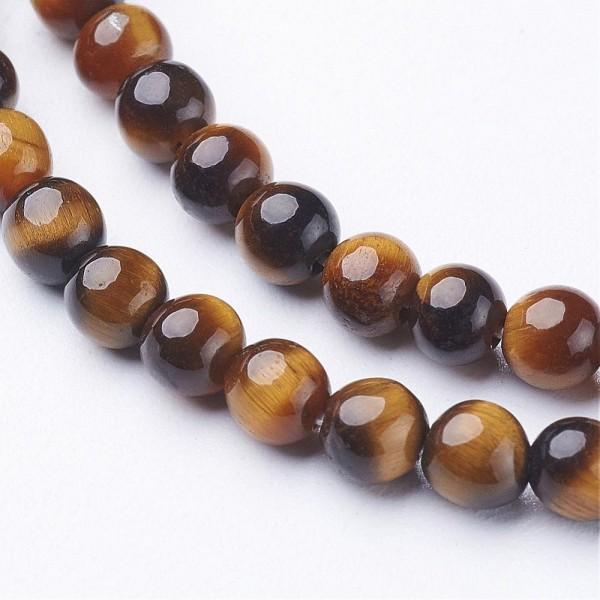 Natürlicher Tigeraugen Perlenstrang glatt glänzend 6 mm (ca. 64 Perlen / ca. 39,5 cm Länge)