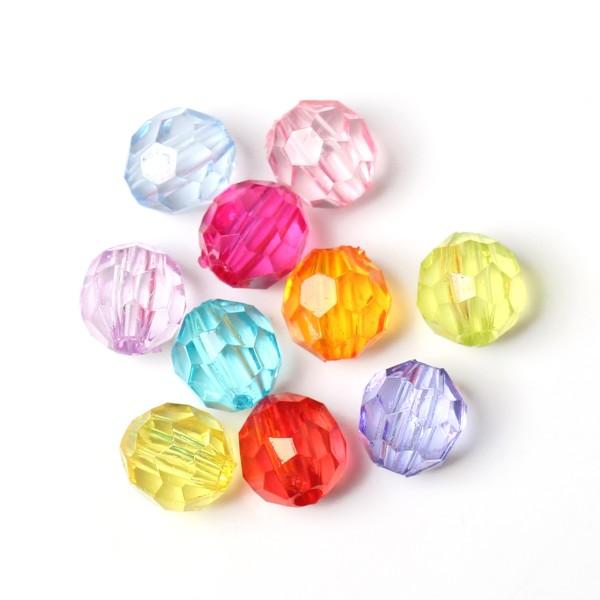 500 Transparente Acryl Perlen facettiert 6 mm