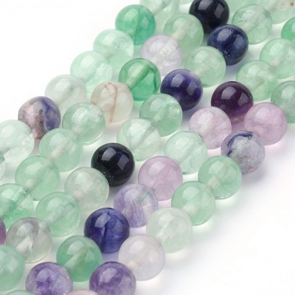 Natürlicher Fluorit Perlenstrang Grad AB rund glatt 6 mm (ca. 64 Perlen / ca. 39 cm Länge)