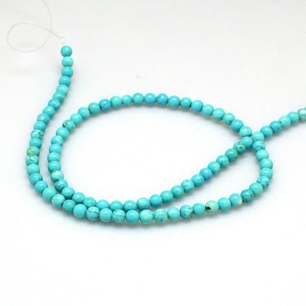 Zierlicher Howlith Perlenstrang gefärbt rund glatt 3 mm (ca. 106 Perlen / ca. 39,5 cm Länge)