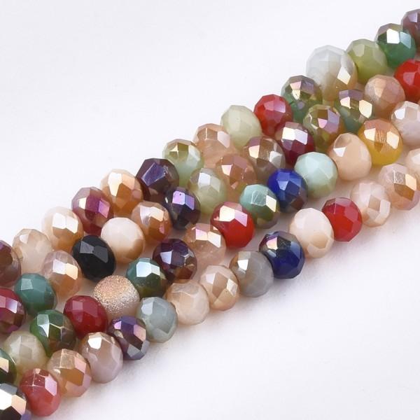 Galvanisierter Glasperlenstrang Klasse AB facettiert Mischfarben (ca. 192 Perlen / ca. 40 cm Länge)