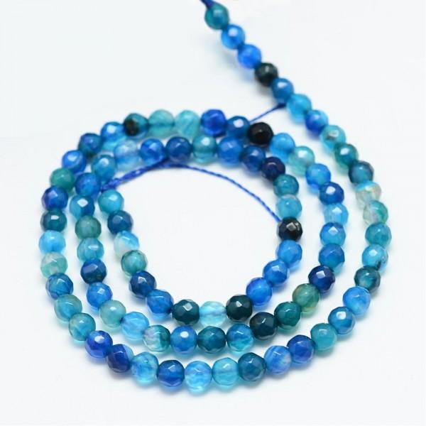 Achatperlen facettiert gefärbt 4 mm blau (ca. 90 Perlen / ca. 37 cm Länge)