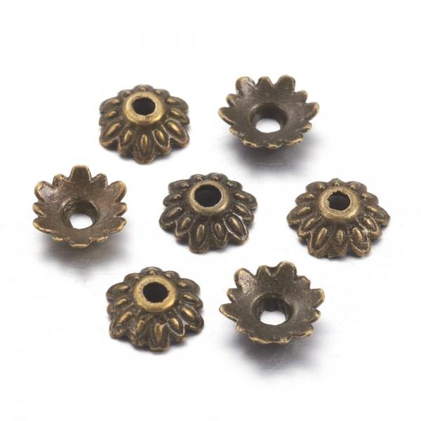 25 Perlkappen antik bronzefarben