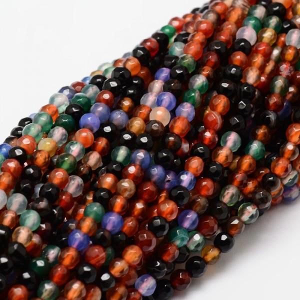 Facettierter Achat Perlenstrang rund gefärbt 4 mm (ca. 92 Perlen / ca. 37 cm Länge)