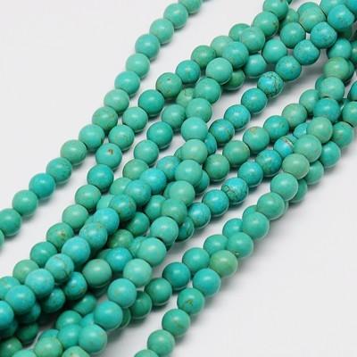 1 Strang synthetische Türkis Perlen 4 mm (ca. 110 Perlen/ ca. 38 cm Länge)
