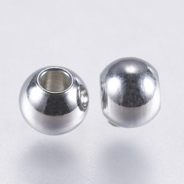 20 Edelstahl Perlen Zwischenperlen Spacer 3 x 2 cm