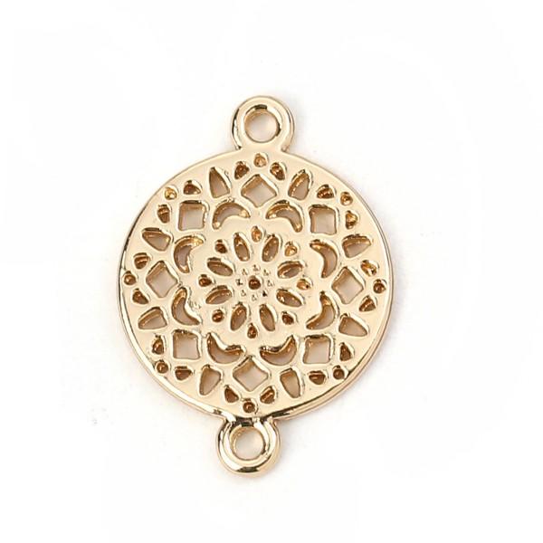 Vergoldeter Verbinder mit Mandala Muster 20 x 14 mm
