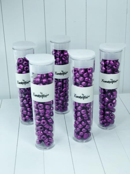11 Gramm Rocailles Glasperlen rund 6/0 dunkelorchidee 4-5 x 3-4 mm im Perlenbehälter